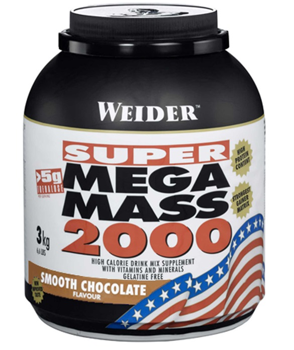SUPER Mega Mass 2000, Gainer, Weider, 3000 g, Jahoda