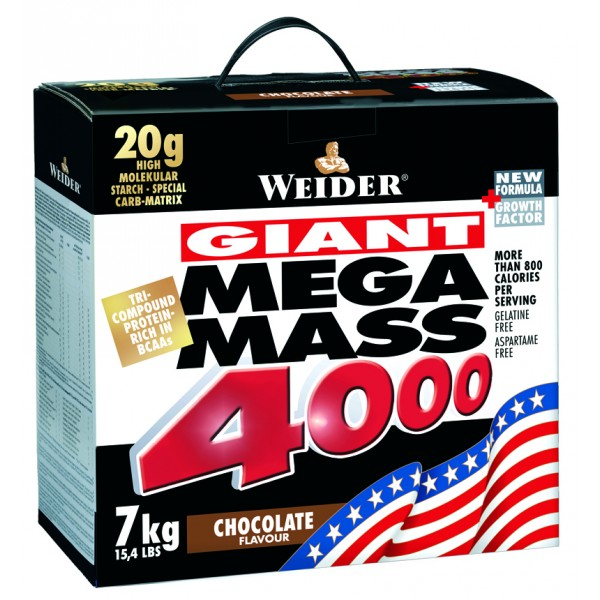 Weider, Giant Mega Mass 4000, Gainer, 7000 g, Brusinka - Jogurt