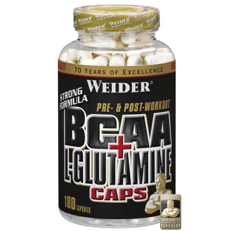 Weider, BCAA + L-Glutamin, 180 kapslí