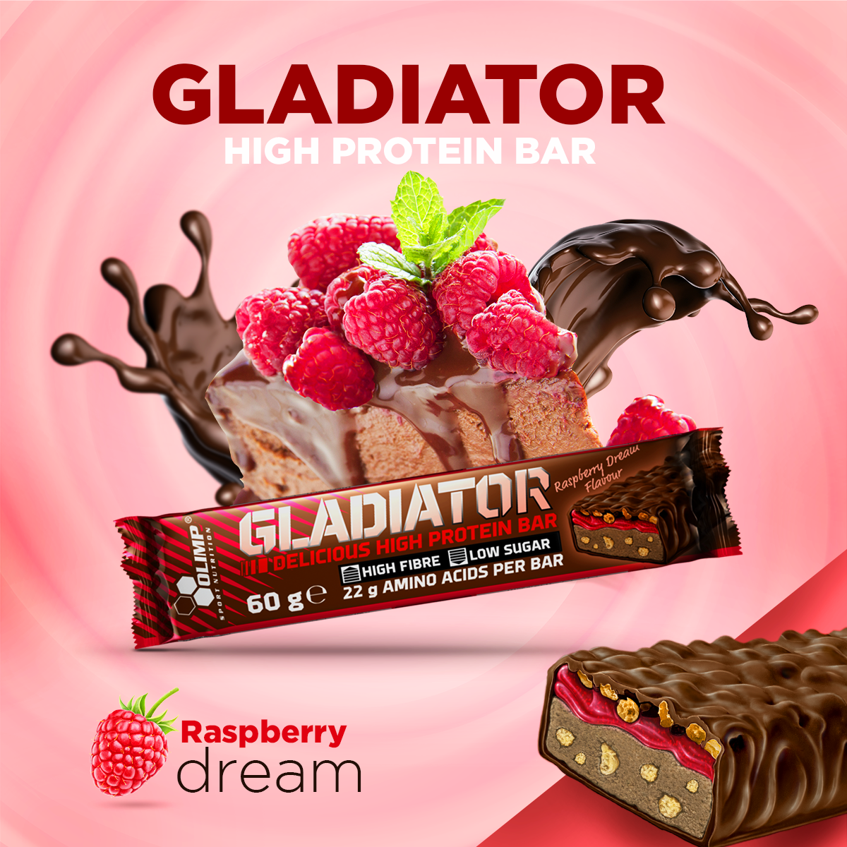Gladiator, delicious high protein bar, 60g, Olimp, Brownie
