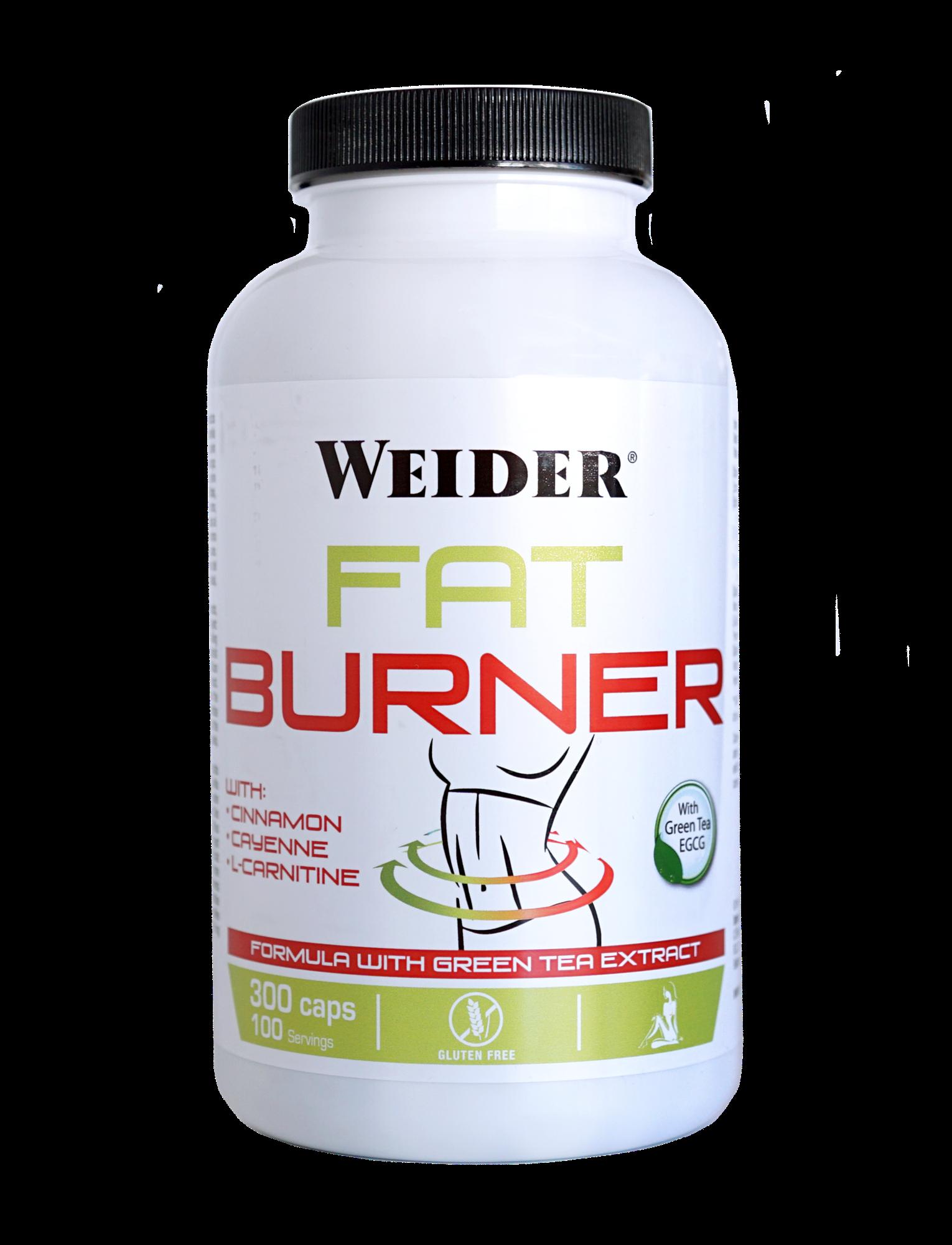 Weider, Fat Burner with Green Tea, 300 kapslí, Jemně stimulační termogení spalovač tuku