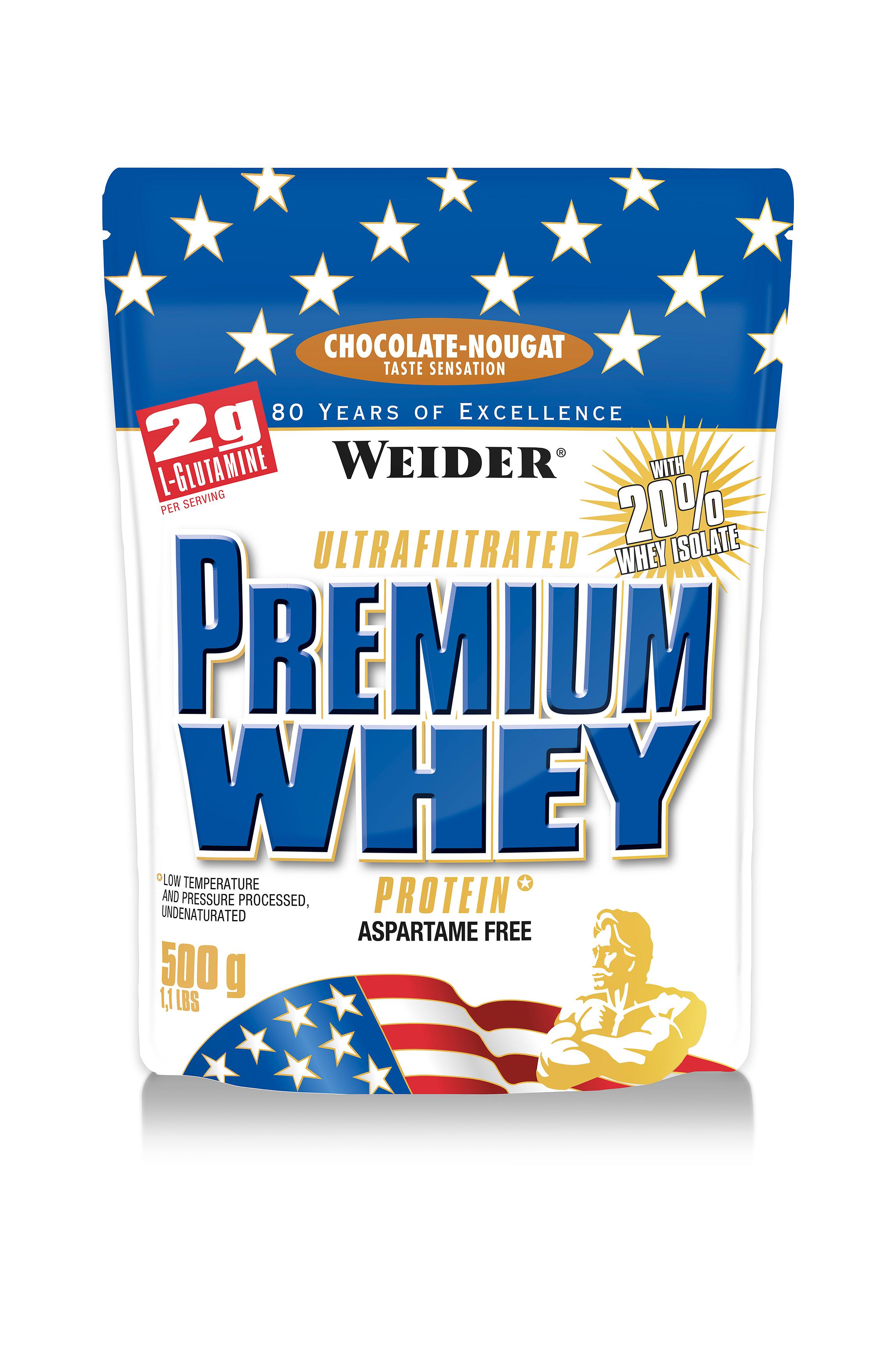 Weider, Premium Whey, 500 g, SYROVÁTKOVÝ KONCENTRÁT +ISOLÁT, Čokoláda-nugát