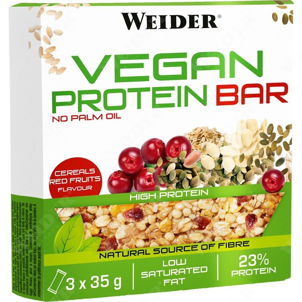 Weider, Vegan Protein Bar, cereálie-červené ovoce  - 3 ks po 35g