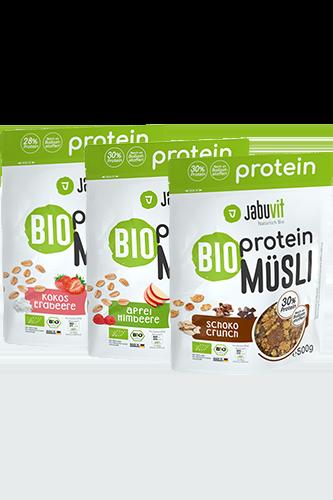 Jabuvit BIO protein MÜSLI 28% Protein, kokos-jahoda, 500 g