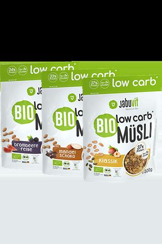 Jabuvit BIO low carb MÜSLI 33% Protein, čoko-mandle, 500 g