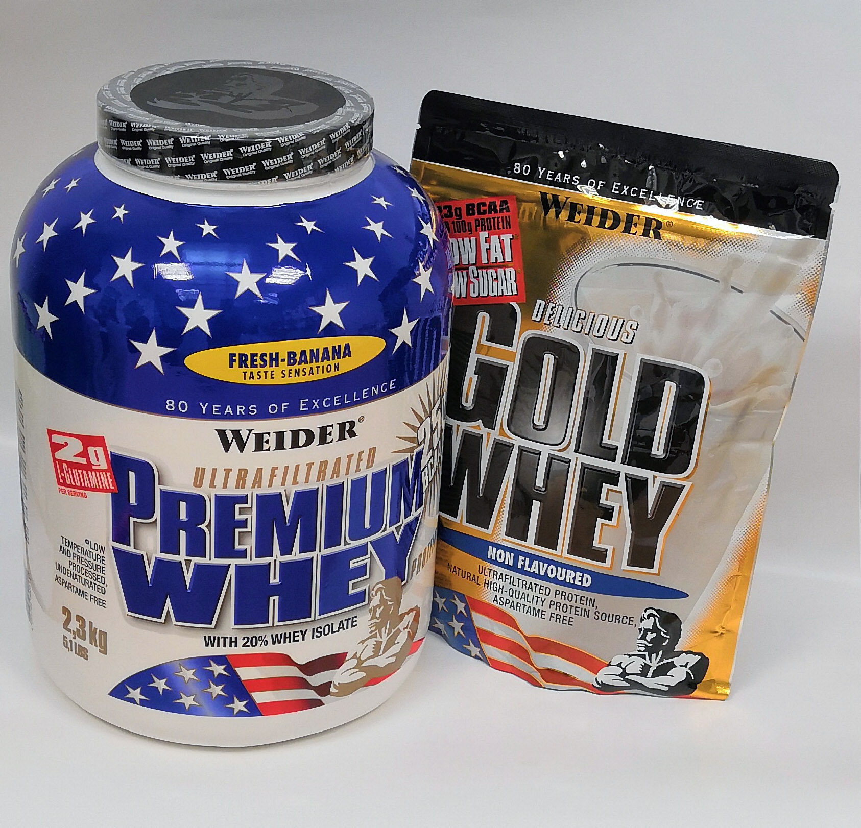 Weider, Premium Whey, 2300 g + ZDARMA  Gold Whey, 500 g NATURAL, Stracciatella