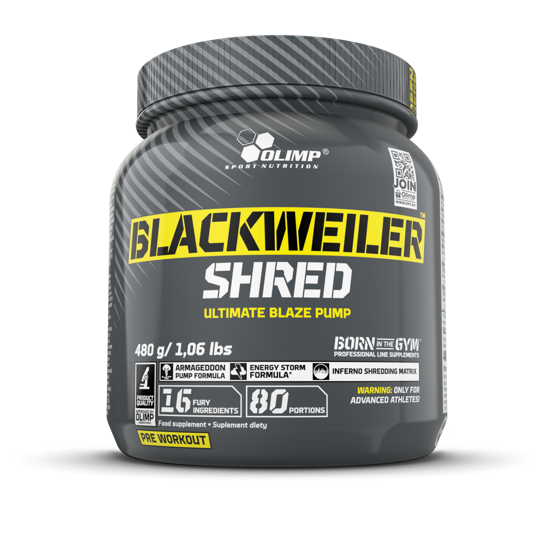 OLIMP BLACKWEILER SHRED, předtréninková směs, EXOTIC ORANGE, 480g