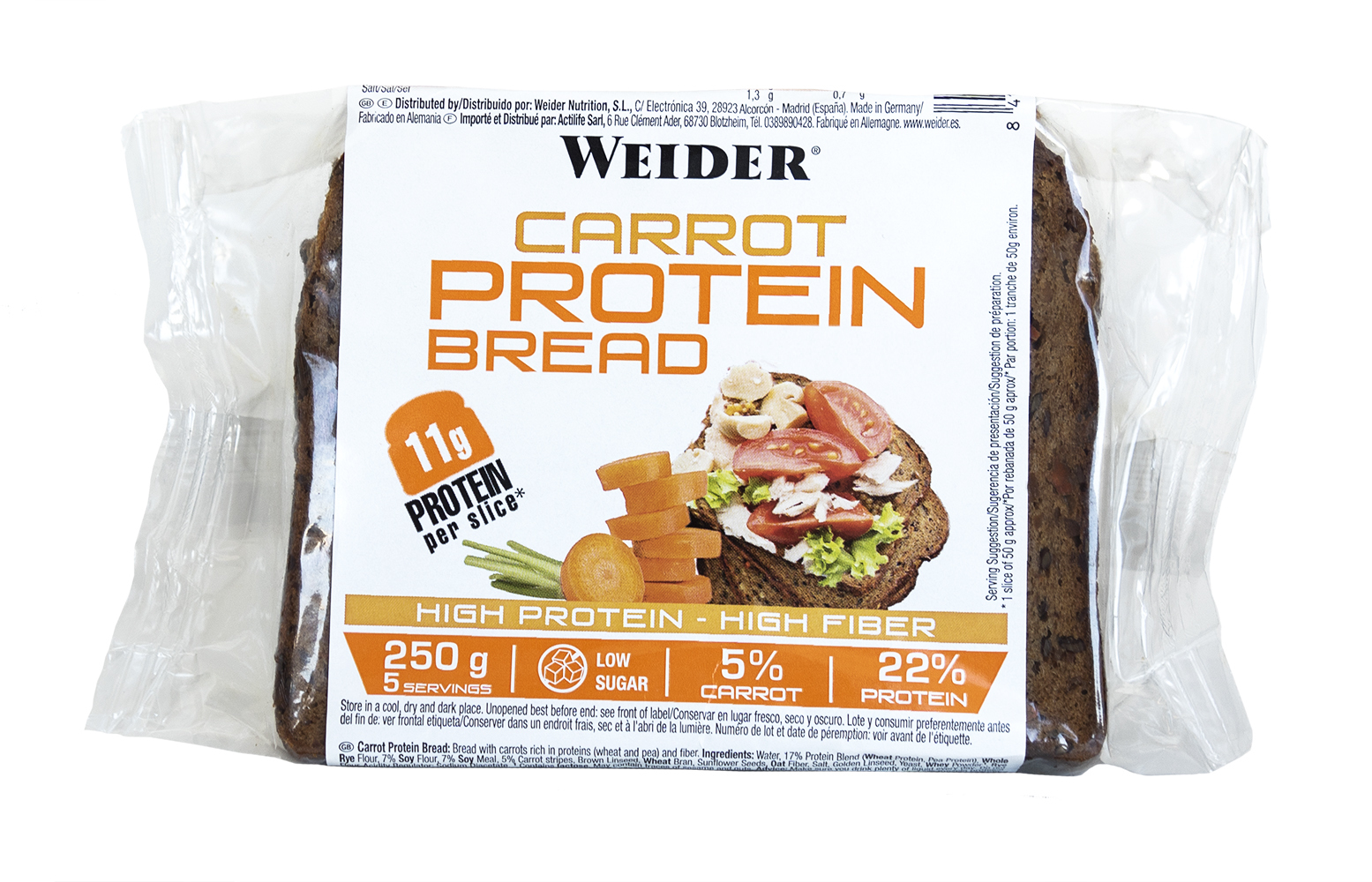 Weider, proteinový chléb s mrkví, 11g bílkovin v porci, 250g