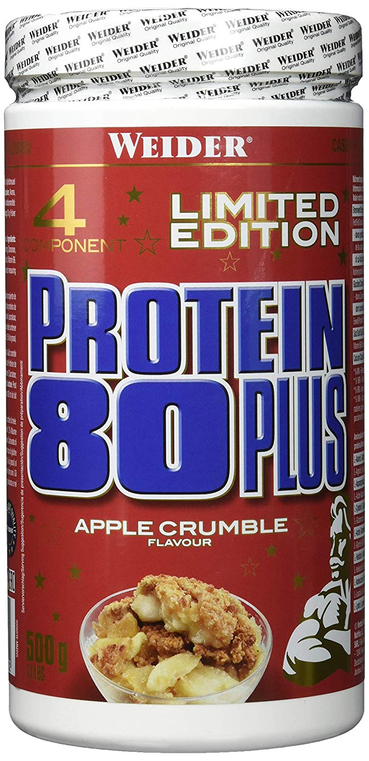 Weider, Protein 80 Plus, 500 g, vícesložkový protein, Apple Crumble - EXPIRACE 11/2019